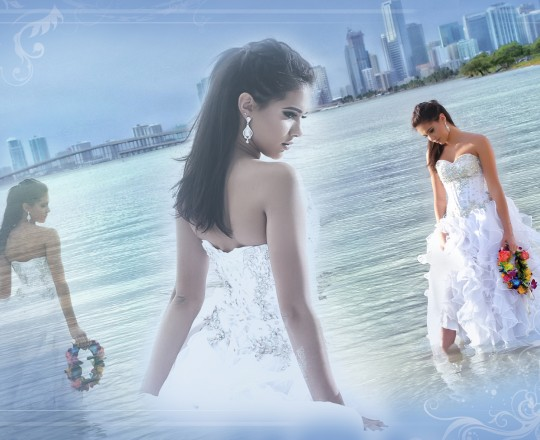 quinceanera beach cityscape photo shoot