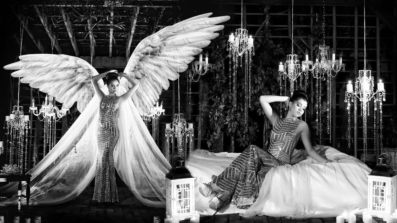 Quinceanera angel wings photo shoot